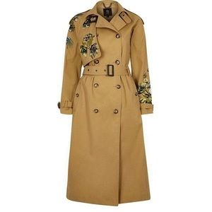 River Island ochre trenchcoat with embroidery